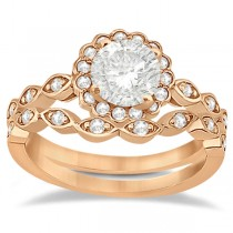 Floral Diamond Halo Bridal Set Ring & Band 14k Rose Gold (0.36ct)