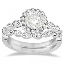 Floral Diamond Halo Bridal Set Ring & Band 14k White Gold (0.36ct)