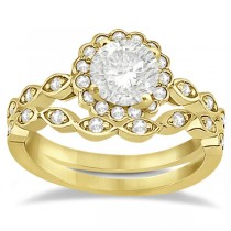 Floral Diamond Halo Bridal Set Ring & Band 14k Yellow Gold (0.36ct)