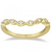 Petite Contour Floral Diamond Wedding Band 14k Yellow Gold (0.12ct)