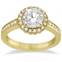 Modern Flower Halo Diamond Engagement Ring 14k Yellow Gold (0.29ct)