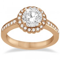 Modern Flower Halo Diamond Engagement Ring 18k Rose Gold (0.29ct)