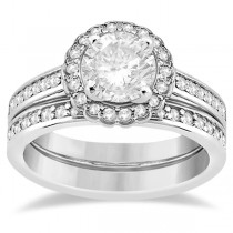 Modern Flower Halo Diamond Engagement Set 14k White Gold (0.50ct)