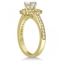 Modern Flower Halo Diamond Engagement Set 14k Yellow Gold (0.50ct)