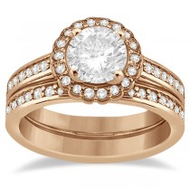 Modern Flower Halo Diamond Engagement Set 18k Rose Gold (0.50ct)