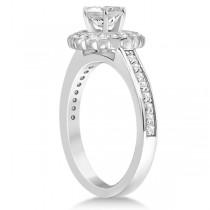 Modern Flower Halo Diamond Engagement Set 18k White Gold (0.50ct)