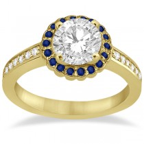 Halo Diamond & Blue Sapphire Engagement Ring 14k Yellow Gold (0.62ct)