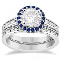 Halo Diamond & Blue Sapphire Bridal Ring Set 14k White Gold (0.83ct)