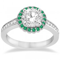 Halo Diamond and Emerald Engagement Ring 14k White Gold (0.62ct)