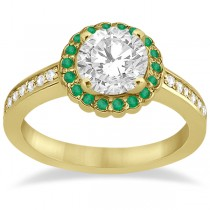 Halo Diamond and Emerald Engagement Ring 14k Yellow Gold (0.62ct)
