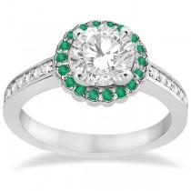 Floral Halo Diamond & Emerald Bridal Ring Set 14k White Gold (0.83ct)