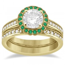 Floral Halo Diamond & Emerald Bridal Ring Set 14k Yellow Gold (0.83ct)