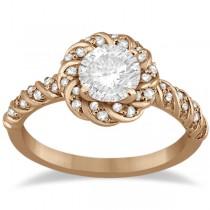 Diamond Halo Rope Engagement Ring Setting 14k Rose Gold (0.27ct)