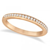 Half-Eternity Diamond Pave Wedding Band 14k Rose Gold (0.18ct)