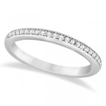 Half-Eternity Diamond Pave Wedding Band 14k White Gold (0.18ct)