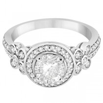 Floral Halo Half Eternity Diamond Ring 14k in White Gold (0.35ct)
