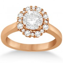 Diamond Halo Engagement Ring 14K Rose Gold Prong Setting (0.32ct)