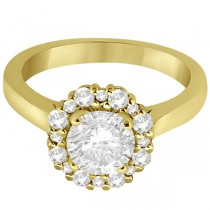 Diamond Halo Engagement Ring 18K Yellow Gold Prong Setting (0.32ct)
