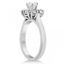 Diamond Halo Engagement Ring Palladium Prong Setting (0.32ct)