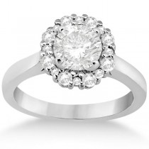 Diamond Halo Engagement Ring Platinum Prong Setting (0.32ct)