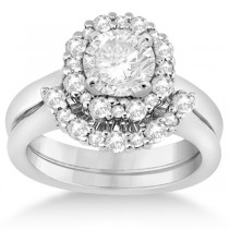 Halo Diamond Engagement Ring & Band Bridal Set 14k White Gold (0.51ct)