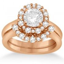 Halo Diamond Engagement Ring & Wedding Band 18k Rose Gold (0.51ct)