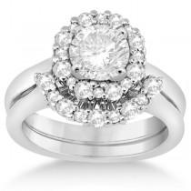 Halo Diamond Engagement Ring with Band Bridal Set Palladium (0.51ct)