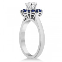 Prong Set Halo Blue Sapphire Engagement Ring 14k White Gold (0.68ct)