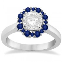 Prong Set Halo Blue Sapphire Engagement Ring 18k White Gold (0.68ct)
