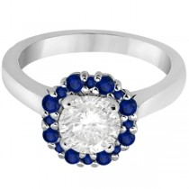 Prong Set Round Halo Blue Sapphire Engagement Ring Palladium (0.68ct)
