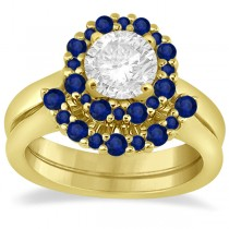 Halo Blue Sapphire Engagement Ring & Band 14K Yellow Gold (1.08ct)