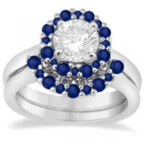 Halo Blue Sapphire Engagement Ring & Band 18K White Gold (1.08ct)