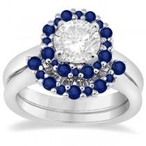 Halo Blue Sapphire Engagement Ring & Band Bridal Set Platinum (1.08ct)