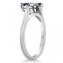 Blue Sapphire Contour Gemstone Wedding Band 14K White Gold (0.40ct)
