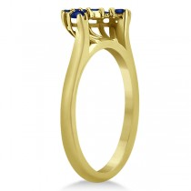 Blue Sapphire Contour Gemstone Wedding Band 18K Yellow Gold (0.40ct)