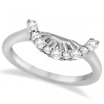 Contour Diamond Wedding Bridal Band Platinum Prong Setting 0.19ct)