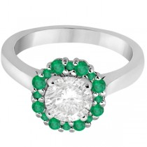 Prong Set Floral Halo Emerald Engagement Ring 18k White Gold (0.68ct)
