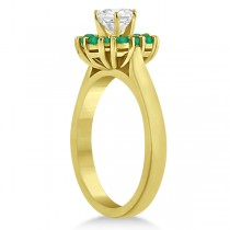 Prong Set Floral Halo Emerald Engagement Ring 18k Yellow Gold (0.68ct)
