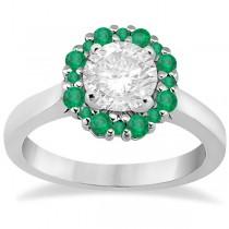 Prong Set Floral Halo Emerald Engagement Ring Platinum (0.68ct)
