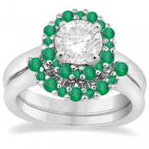 Halo Green Emerald Engagement Ring & Band 18K White Gold (1.08ct)