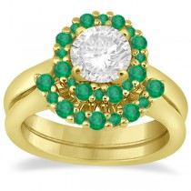 Halo Green Emerald Engagement Ring & Band 18K Yellow Gold (1.08ct)