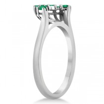 Emerald Contour Gemstone Bridal Wedding Band 14K White Gold (0.40ct)