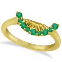 Emerald Contour Gemstone Bridal Wedding Band 18K Yellow Gold (0.40ct)