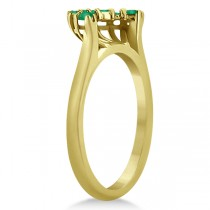 Emerald Contour Gemstone Bridal Wedding Band 18K Yellow Gold (0.40ct)