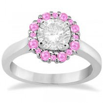 Prong Set Halo Pink Sapphire Engagement Ring 18k White Gold (0.68ct)