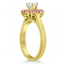 Prong Set Halo Pink Sapphire Engagement Ring 18k Yellow Gold (0.68ct)