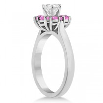 Prong Set Round Halo Pink Sapphire Engagement Ring Palladium (0.68ct)