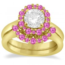 Halo Pink Sapphire Engagement Ring & Band 18K Yellow Gold (1.08ct)