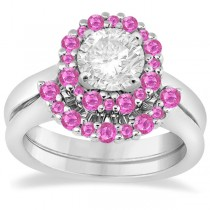 Halo Pink Sapphire Engagement Ring & Band Bridal Set Platinum (1.08ct)