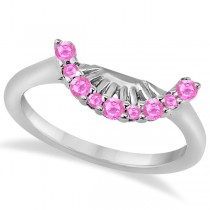 Pink Sapphire Contour Gemstone Wedding Band 14K White Gold (0.40ct)